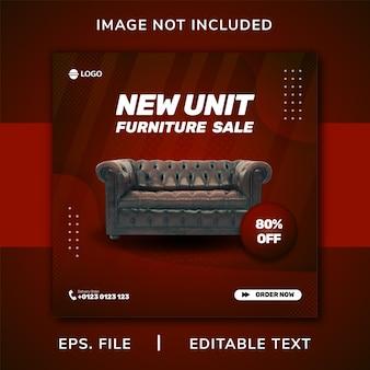 Promozione sui social media di mobili per divani e modello di progettazione di banner per instagram