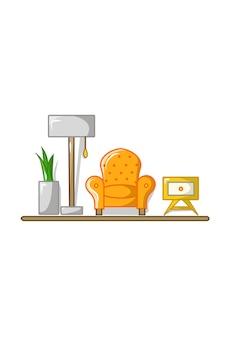 Illustrazione vettoriale di divano, lampada, vaso di fiori, cassetto
