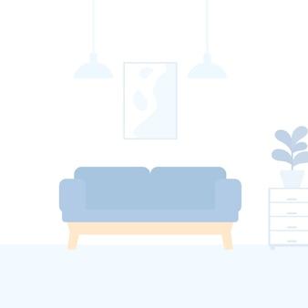 Divano in interni moderni, illustrazione vettoriale