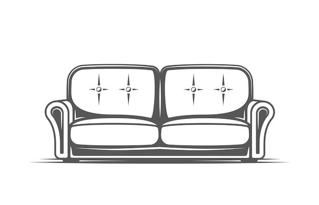 Divano su sfondo bianco. simboli per loghi ed emblemi di mobili. illustrazione