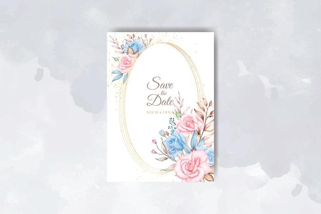 Carta di invito a nozze ad acquerello con rose rosa blu morbide
