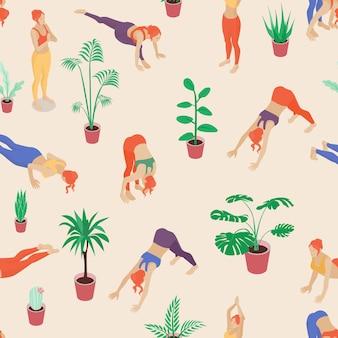 Modello di ragazze yoga colorato morbido, ripetizione senza soluzione di continuità. elementi di stile piatto alla moda. ottimo per il design editoriale di abbigliamento, superfici, sfondi, scrapbooking, imballaggi, carta da imballaggio ecc.