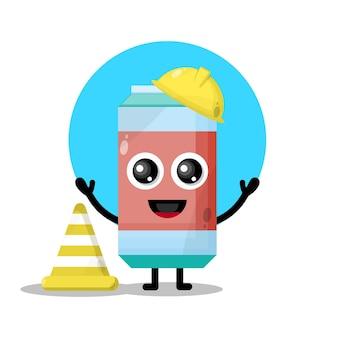 Simpatico personaggio mascotte dell'operaio edile di bibite