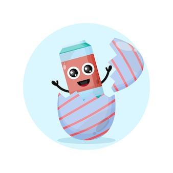 Bevanda analcolica uovo di pasqua simpatico personaggio mascotte