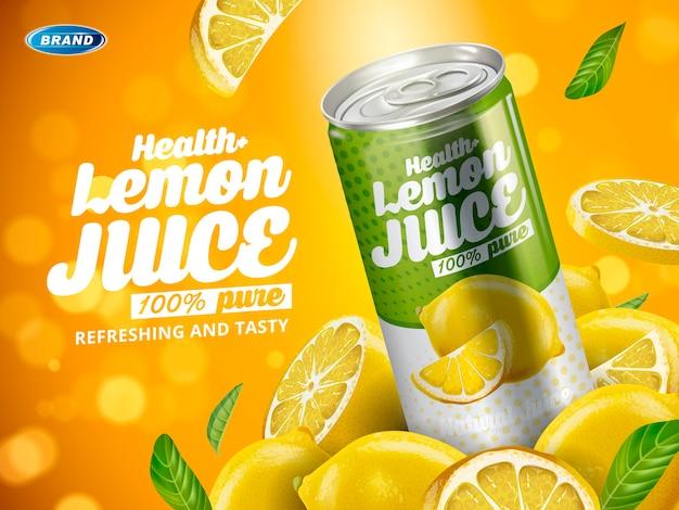 Bibita al gusto di limone contenuta in lattina di metallo verde, elementi di limone tagliato