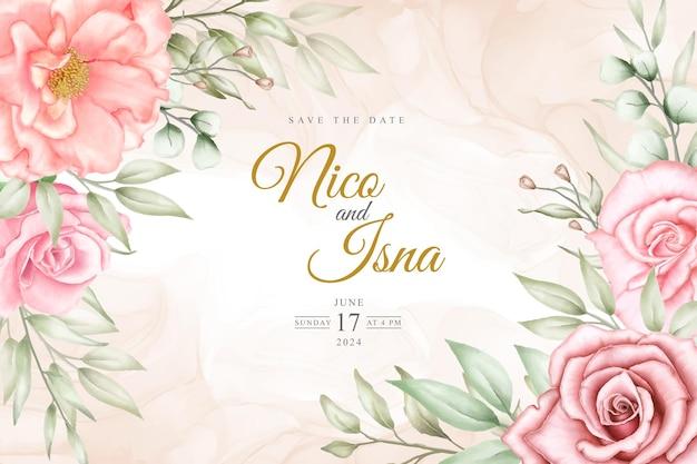 Design morbido ed elegante per invito a nozze con fiori e foglie ad acquerello
