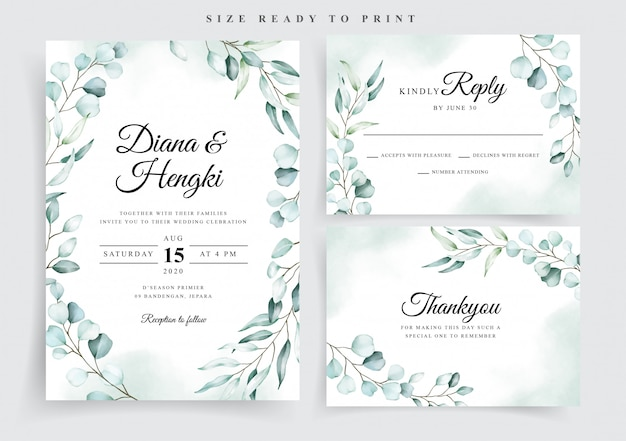 Modello di invito di carta di nozze dell'acquerello morbido eucalipto