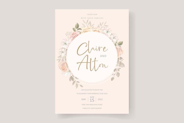 Morbido design floreale e foglie di invito a nozze Vettore Premium