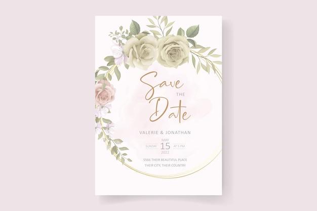 Morbido disegno floreale e foglie di invito a nozze
