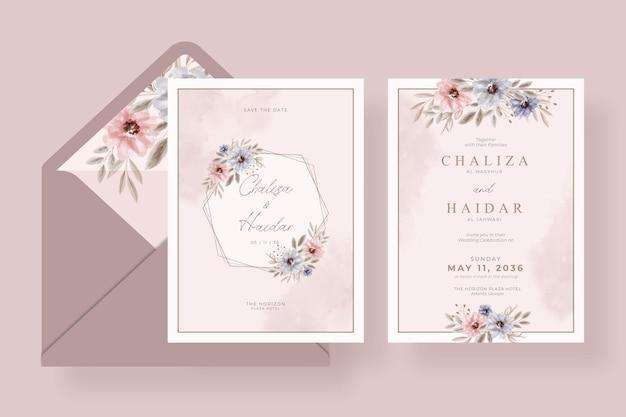 Modello di invito di matrimonio ad acquerello floreale morbido