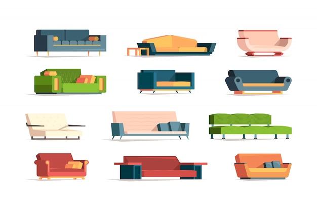 Mobili morbidi. divano in tessuto divano semplice set vista frontale interni mobili poltrone foto