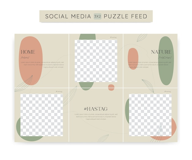 Soft green nature beauty social media ig instagram puzzle post feed template with abstract and nature leaf