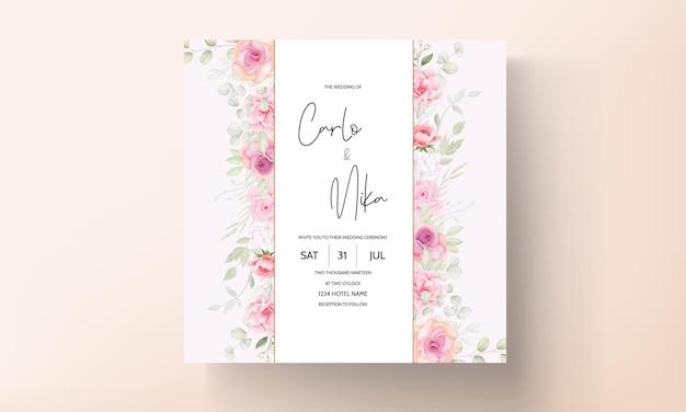 Carta di invito matrimonio floreale rosa tenue