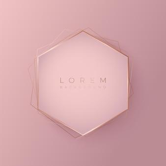 Forma di sfondo 3d esagonale rosa tenue con cornice dorata, illustrazione vettoriale