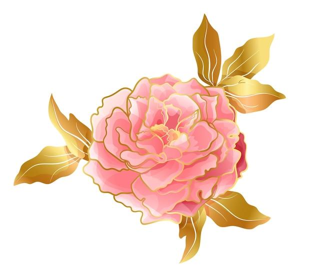 Fiore di peonia rosa tenue di tendenza orientale
