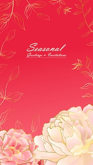 Banner con ritratto di peonia rosa tenue