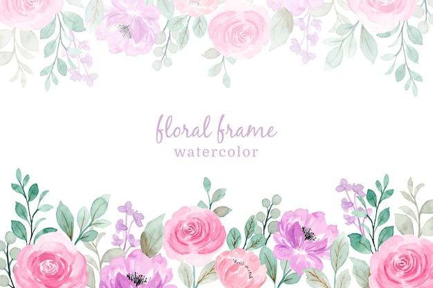 Cornice floreale dell'acquerello viola rosa morbido
