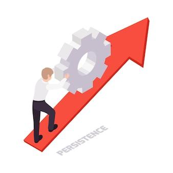 Icona del concetto di competenze trasversali con carattere isometrico che tira su una grande attrezzatura 3d