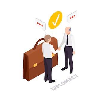 Icona del concetto di diplomazia delle competenze trasversali con valigetta e due personaggi che si stringono la mano 3d