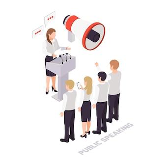 Icona isometrica soft skills con megafono altoparlante pubblico e ascoltatori
