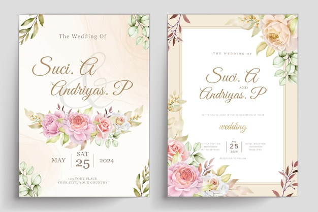 Biglietto d'invito morbido acquerello floreale e foglie