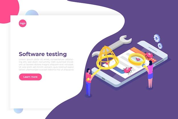 Concetto isometrico di test di software o applicazioni. debug del processo di sviluppo.