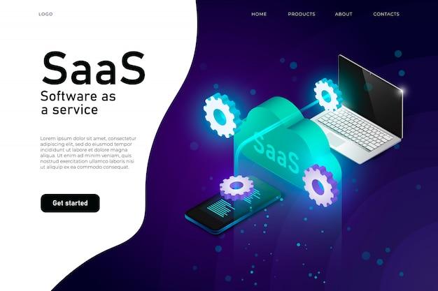 Software come programma saas di servizio. intestazione del sito web dell'infrastruttura mainframe it. layout di progettazione del sito web della rete saas, servizio di cloud computing isometrico