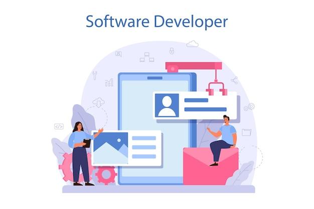 Concetto di sviluppatore di software. idea di programmazione e codifica, sviluppo del sistema. tecnologia digitale. società di sviluppo software che scrive codice. illustrazione vettoriale isolato
