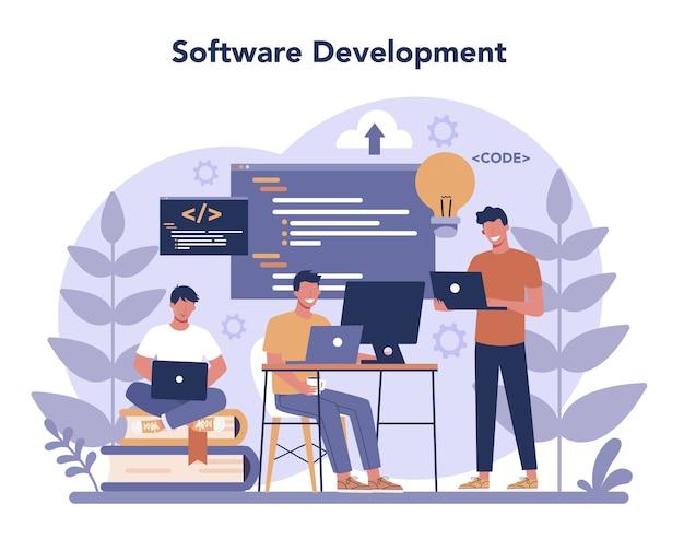 Concetto di sviluppatore di software. idea di programmazione e codifica, sviluppo del sistema. tecnologia digitale. società di sviluppo software che scrive codice.