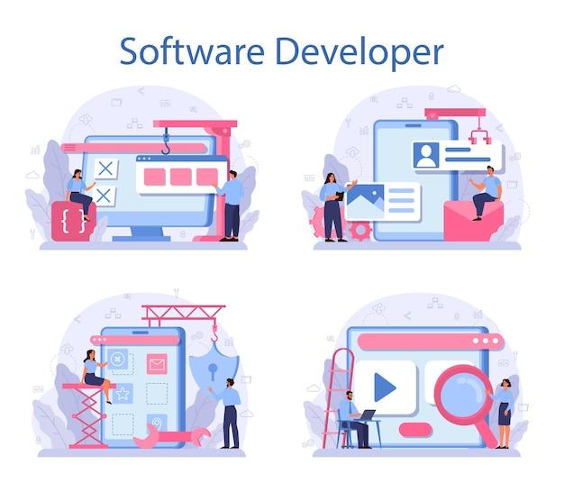 Insieme di concetto di sviluppatore di software.