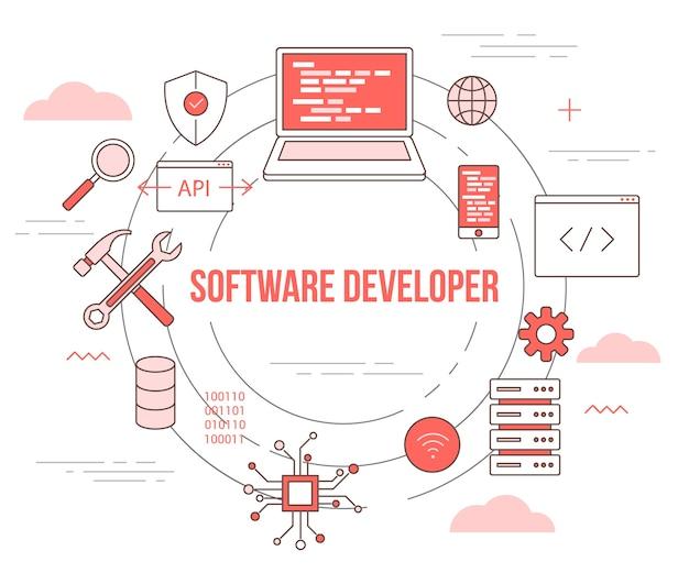 Concetto di sviluppatore di software con banner modello set con stile moderno di colore arancione