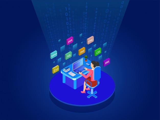Sviluppatore software alla scrivania.