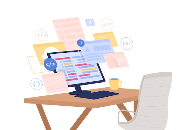 Sviluppo software piatto. corso online per sviluppatori.