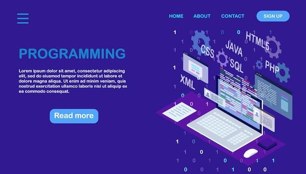 Sviluppo software, linguaggio di programmazione, codifica. tecnologia digitale. computer portatile isometrico, computer