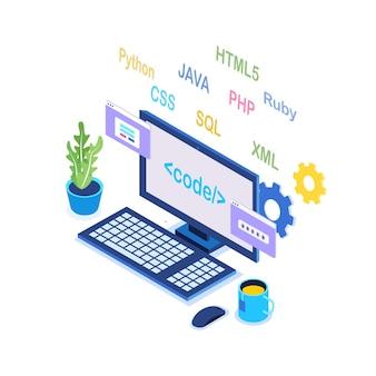 Sviluppo software, linguaggio di programmazione, codifica. tecnologia digitale. computer portatile isometrico, computer Vettore Premium