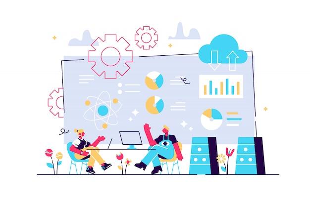 Software engineer, statistician, visualizer e analyst che lavora su un progetto. conferenza sui big data, presentazione dei big data, concetto di scienza dei dati. illustrazione isolata viola vibrante brillante