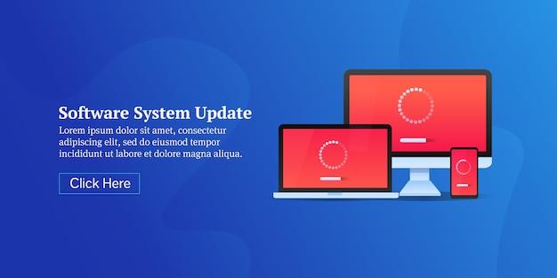 Bandiera concettuale di aggiornamento del sistema software