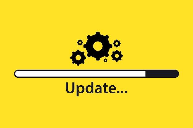 Aggiornamento software. processo di caricamento. concetto di aggiornamento. illustrazione vettoriale in stile piatto. aggiorna aggiorna aggiorna. processo di caricamento.concetto di aggiornamento dell'icona di avanzamento dell'applicazione per la progettazione grafica e web