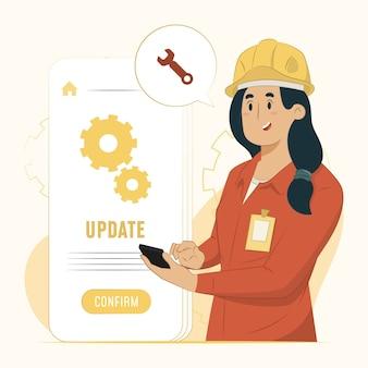 Illustrazione di concetto di aggiornamenti software