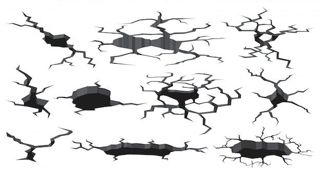 Il terreno si fende la trama. foro di superficie incrinato da terremoto, effetti del suolo di craquelure danneggiati. icone dell'illustrazione delle crepe della terra danneggiata messe. terremoto di superficie, consistenza, crollo della terra asciutta