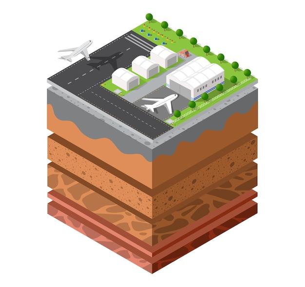Set geologico di strati di suolo e sottosuolo sotto la fetta isometrica del paesaggio naturale