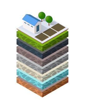Strati di suolo geologici e sotterranei sotto la fetta isometrica del paesaggio naturale
