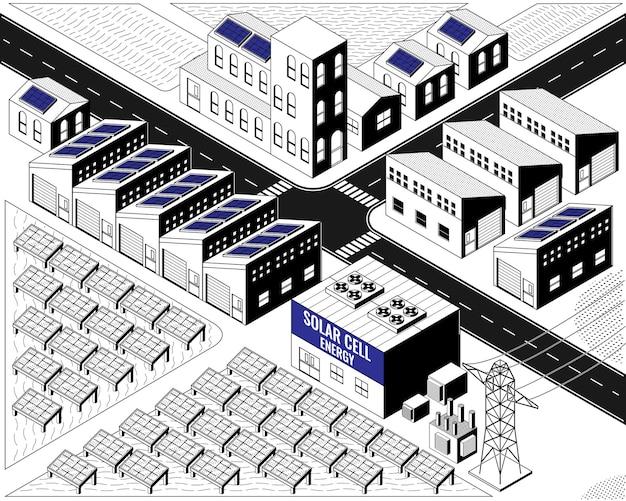 Energia a celle solari, centrale elettrica a celle solari in grafica isometrica