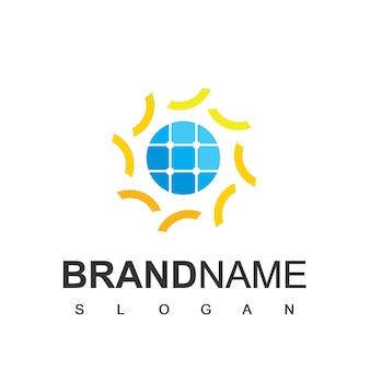 Modello di logo di celle solari, simbolo di energia ecologica
