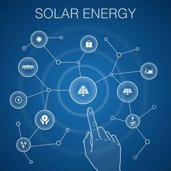 Concetto di energia solare, sfondo blu. sole, batteria, energia rinnovabile, icone di energia pulita