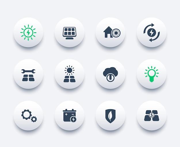 Set di icone di energia solare, energetica alternativa, casa alimentata dal sole
