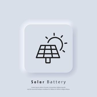 Pannello a energia solare. icona della batteria di alimentazione. icona di energia verde di energia solare. vettore. icona dell'interfaccia utente. pulsante web dell'interfaccia utente bianca ui ux neumorphic. neumorfismo