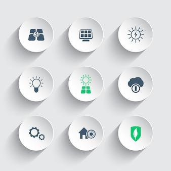 Icone moderne rotonde di energia solare