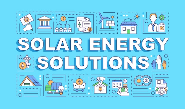Insegna di concetti di parola di soluzioni di energia solare. energia pulita. protezione ambientale. icone lineari su sfondo blu.
