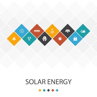 Concetto di infografica modello di interfaccia utente alla moda a energia solare. sole, batteria, energia rinnovabile, icone di energia pulita